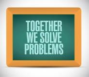 Junto nós resolvemos a mensagem dos problemas Fotos de Stock