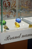 JUNWEX莫斯科2014豪华雕琢平面的宝石 免版税库存照片