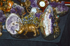 JUNWEX Moscow 2014 Rhino on a background made ��of precious metals inlaid with precious stones Royalty Free Stock Photos