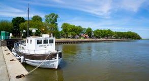 Juodkrante. Ship in the lagoon. Stock Image