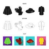 Jupe avec des plis, gants en cuir, chapeau de femmes avec un arc, chemise sur l'attache Icônes réglées de collection d'habillemen illustration libre de droits