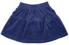 Jupe bleue d'enfant ou de femme D'isolement sur le blanc photographie stock libre de droits