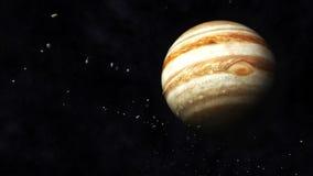 Jupiter and Asteroids. Digital Illustration of Planet Jupiter and Asteroids stock illustration
