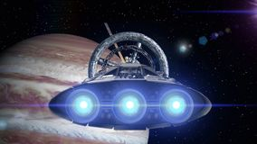 Jupiter in the backdrop. Spacecraft flies out of the tunnel. Spacecraft flying into a space station door, 3d animation. Spacecraft flies out of the tunnel on stock footage
