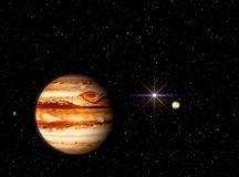 Jupiter with a companion against the background of the cosmos and the sun. Illustration in the artist`s view. royalty free illustration