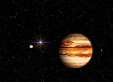 Jupiter with a companion against the background of the cosmos and the sun. Illustration in the artist`s view. vector illustration