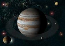 Jupiter en het is manen Stock Foto's