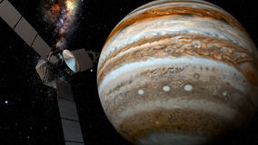 Jupiter en satellietjuno, het 3D teruggeven Stock Foto's