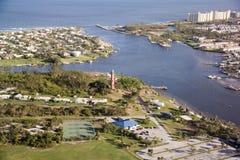 Jupiter, FL Inlet and Light House stock photo