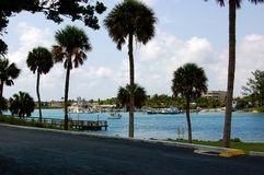 Jupiter Florida. Banks of Jupiter Florida with palm trees Stock Photos