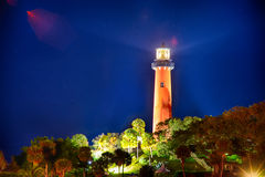 Jupiter florida  inlet lighthouse at night Royalty Free Stock Image