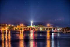 Jupiter florida inlet lighthouse at night stock photos