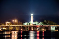 Jupiter florida  inlet lighthouse at night Stock Photos