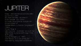Jupiter - High resolution Infographic presents one. Jupiter - 5K resolution Infographic presents one of the solar system planet, look and facts. This image stock photography