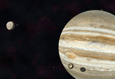 Jupiter, Io and Europa Royalty Free Stock Photography