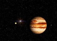 Jupiter met een metgezel tegen de achtergrond van de kosmos en de zon Illustratie in de kunstenaars` s mening vector illustratie