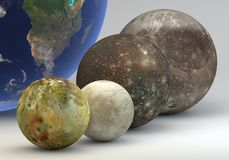 Jupiter moons with Earth comparison. This image represents the comparison between the moons of Jupiter with the Earth in a precise scientific design Royalty Free Stock Photo