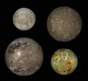 Jupiter and moons. Jupiter and four biggest moons: Io, Europa, Callisto and Ganymede Stock Photos