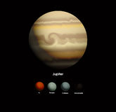 Jupiter and she moons Stock Photos