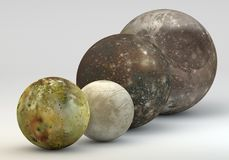 Jupiter moons in size comparison. This image represents the comparison between the moons of Jupiter in size comparison in a precise scientific design Royalty Free Stock Photo