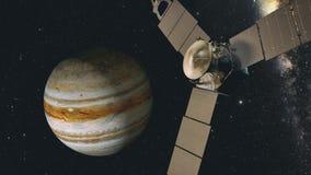 Jupiter- och satellitjuno, tolkning 3D Royaltyfria Bilder
