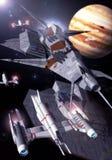 Jupiter orbit. A spacehip fleet near jupiter in 3d Stock Photos
