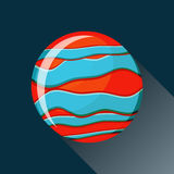 Jupiter planet icon. With long shadow. Space view and texture map of  the globe Jupiter. Solar system. Cartoon vector illustration in flat style Stock Photos