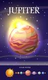 Jupiter Planet Sistema di Sun Universo Vettore Fotografia Stock