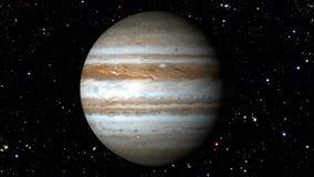 Jupiter Rotating em uma estrela movente Backgrund Loopable video estoque