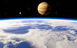 Jupiter's icy moon Europa in the distant future Royalty Free Stock Image