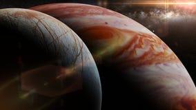 Jupiter ` s księżyc Europa planeta Jupiter Milky sposób i słońce, ilustracji