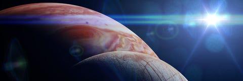 Jupiter ` s księżyc Europa przed planetą Jupiter zaświecał słońcem ilustracji