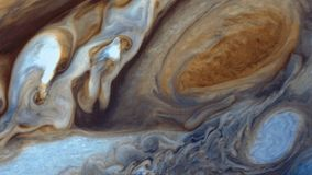 Jupiter`s surface and the Great Red Spot.