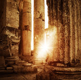 Jupiter's temple  Baalbek, Lebanon. Ancient arabian architecture, ruins of aged castle, religious building in bright sun light, grunge vintage photo Stock Photography
