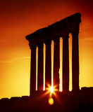 Jupiter's temple  Baalbek, Lebanon. Old columns over sunset, Jupiter's temple of Baalbek, Lebanon, ancient city ruins,hystorical arabian architecture, travel and Royalty Free Stock Photo