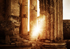 Jupiter's temple  Baalbek in sunset Royalty Free Stock Photography