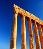 Jupiter's temple columns over blue sky Stock Image