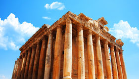Jupiter's temple over blue sky, Baalbek, Lebanon Stock Image