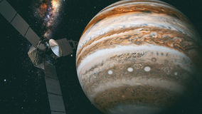 Jupiter and satellite juno, 3D rendering. Juno requires a five-year cruise to Jupiter, arriving around July 4, 2016 stock image