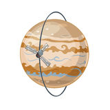 Jupiter and spacecraft art, vector illustration Royalty Free Stock Photography