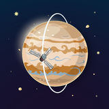 Jupiter and spacecraft art, vector illustration Stock Images
