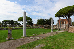 Jupiter Temple in Ostia Antica, Italy. Ostia Antica is a large archaeological site, close to the modern suburb of Ostia, that was the location of the harbour Stock Photos