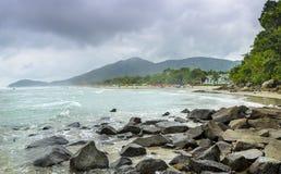 Juquei beach .Coastline of  Sao Paulo state, Brazil. Royalty Free Stock Photography