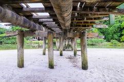 Juquei , SP , Brazil. Old bridge in a condition unfit for use. Juquei , SP , Brazil Stock Photo