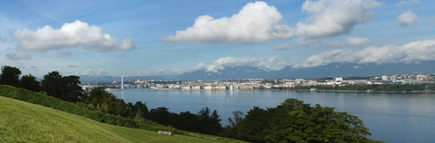 Jura mountain upon Geneva panorama, Switzerland Royalty Free Stock Photography
