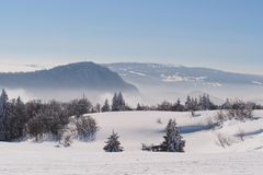 Jura Mountain in Winter, mont d or area. French slope Royalty Free Stock Images