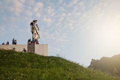 Juraj Janosik statue view, Terchova town. Juraj Janosik statue view, Terchova, Slovakia, Illustrative editorial, August 4, 2017 royalty free stock photography