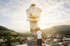 Juraj Janosik statue view, Terchova city. Juraj Janosik statue view, Terchova town, Slovakia, Illustrative editorial, August 4, 2017 royalty free stock photos