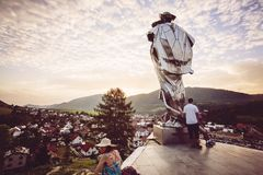 Juraj Janosik statue view, Terchova town. Slovakia, Illustrative editorial, August 4, 2017 stock images