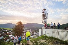 Juraj Janosik statue view, Terchova town. Slovakia, Illustrative editorial, August 4, 2017 stock image
